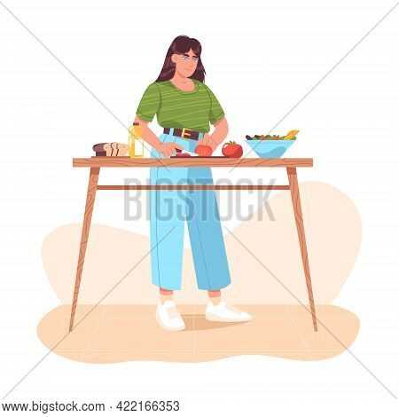 Woman Preparing Healthy Food, Cutting Fresh Vegetables. Homemade Meals On Kitchen Table At Home. Gir