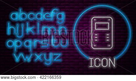 Glowing Neon Line Police Assault Shield Icon Isolated On Brick Wall Background. Neon Light Alphabet.