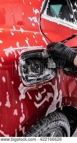 Man Worker Cleans And Washes The Fuel Filler