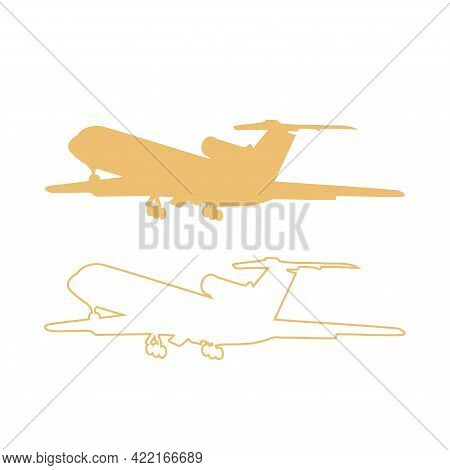 Plane Icon Set Vector Illustration. Airplane Flight Travel And Holiday Symbol. View Of The Aircraft
