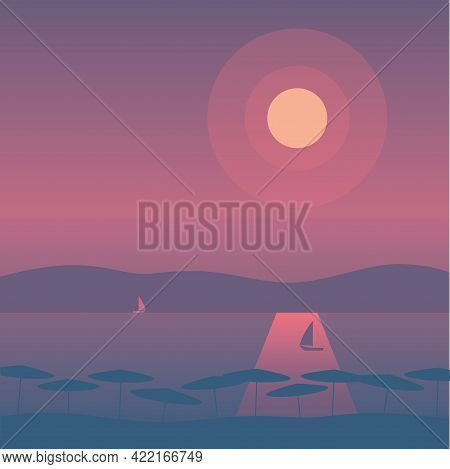 Flat Style Illustration - Landscape With Sunset Over Mountains And Lake With Sailboats And Umbrellas