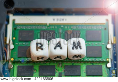Laptop Ram Concept, The Inscription Ram Is Located On The Laptop Ram Chip