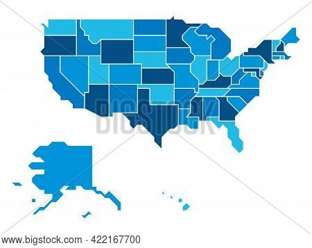 Blue Simplified Map Of Usa, United States Of America. Retro Style. Geometrical Shapes Of States With