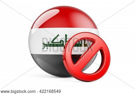 Forbidden Symbol With Iraqi Flag. Prohibition In Iraq Concept, 3d Rendering Isolated On White Backgr