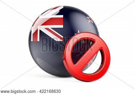 Forbidden Symbol With New Zealand Flag. Prohibition In New Zealand Concept, 3d Rendering Isolated On