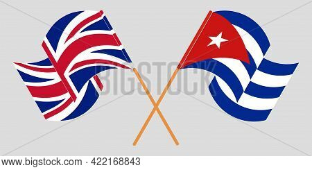 Crossed And Waving Flags Of Cuba And The Uk