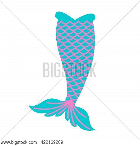 Blue Mermaid Tail With Pink Squama Isolated On White Background. Design Element For Girls Sea Party,