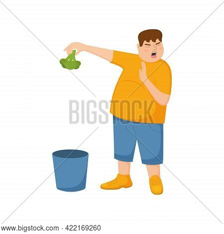 Young Fat Man Refuse Eating Broccoli And Throws It In Trash Can. Guy With Refusing Gesture, Facial E