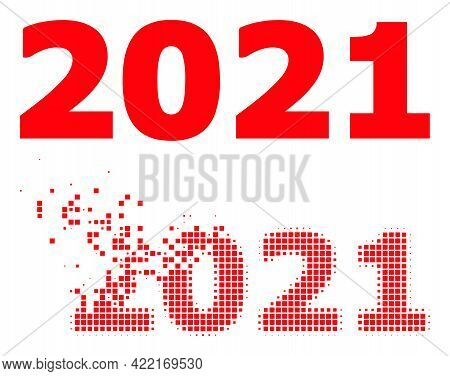 Dissolved Pixelated 2021 Year Digits Vector Icon With Wind Effect, And Original Vector Image. Pixel