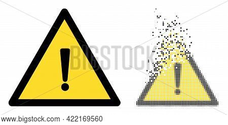 Dispersed Dotted Exclamation Warning Vector Icon With Wind Effect, And Original Vector Image. Pixel