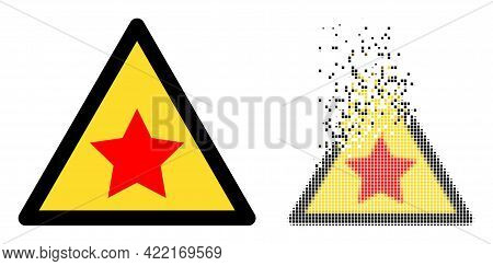 Dispersed Dot Communism Star Warning Vector Icon With Destruction Effect, And Original Vector Image.