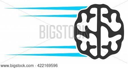 Rush Brain Vector Icon. A Flat Illustration Design Of Rush Brain Icon On A White Background.