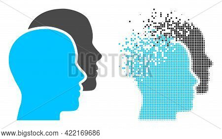 Dispersed Dot Man Heads Vector Icon With Wind Effect, And Original Vector Image. Pixel Fragmentation