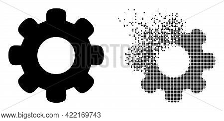 Fractured Dotted Gear Wheel Vector Icon With Wind Effect, And Original Vector Image. Pixel Burst Eff