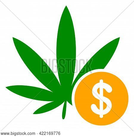 Cannabis Investing Vector Icon. A Flat Illustration Design Of Cannabis Investing Icon On A White Bac
