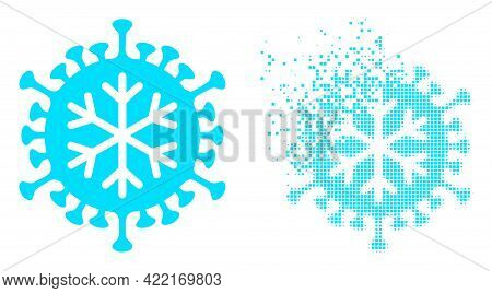 Dispersed Dotted Winter Virus Vector Icon With Destruction Effect, And Original Vector Image. Pixel