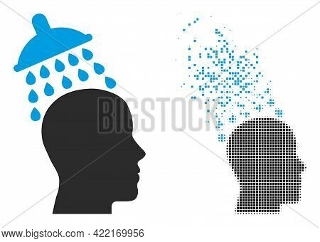 Dispersed Dotted Head Shower Vector Icon With Destruction Effect, And Original Vector Image. Pixel E
