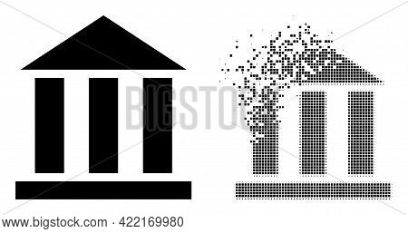 Dissolved Dotted Library Office Vector Icon With Destruction Effect, And Original Vector Image. Pixe