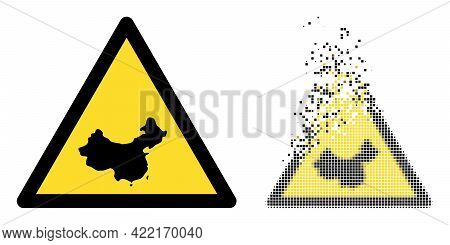 Dissolved Pixelated Chinese Warning Vector Icon With Destruction Effect, And Original Vector Image.