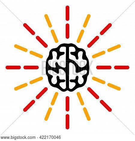 Brain Shine Vector Icon. A Flat Illustration Design Of Brain Shine Icon On A White Background.