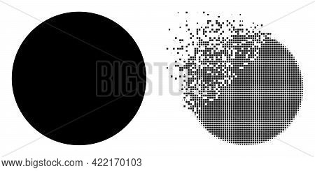 Dispersed Dotted Circle Vector Icon With Destruction Effect, And Original Vector Image. Pixel Disint