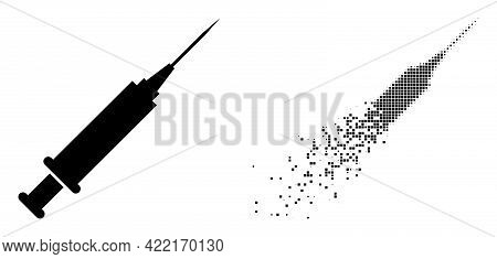 Dissolved Dotted Syringe Vector Icon With Wind Effect, And Original Vector Image. Pixel Degradation