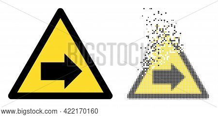 Dissolved Dotted Right Direction Warning Vector Icon With Destruction Effect, And Original Vector Im