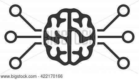Brain Circuit Vector Illustration. A Flat Illustration Design Of Brain Circuit Icon On A White Backg