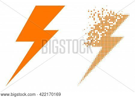 Dispersed Dot Electric Strike Vector Icon With Wind Effect, And Original Vector Image. Pixel Dissipa