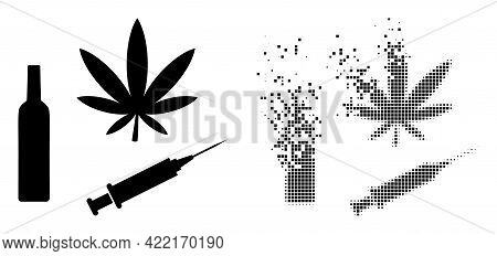Dispersed Dot Narcotic Drugs Vector Icon With Destruction Effect, And Original Vector Image. Pixel B