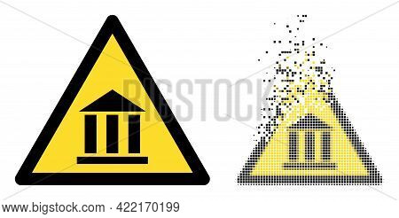 Dispersed Pixelated Bank Warning Vector Icon With Destruction Effect, And Original Vector Image. Pix