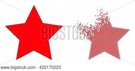 Dissolved Dotted Star Vector Icon With Wind Effect, And Original Vector Image. Pixel Disintegration