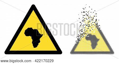 Fractured Dot African Warning Vector Icon With Wind Effect, And Original Vector Image. Pixel Disappe