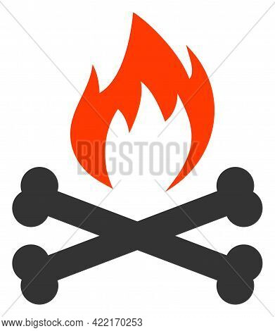 Hell Fire Bones Vector Illustration. A Flat Illustration Design Of Hell Fire Bones Icon On A White B