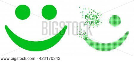 Dissolved Dotted Happy Smile Vector Icon With Wind Effect, And Original Vector Image. Pixel Disinteg