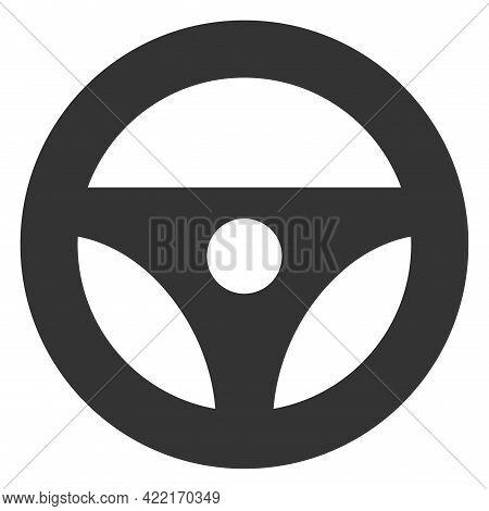 Car Steering Wheel Vector Illustration. A Flat Illustration Design Of Car Steering Wheel Icon On A W