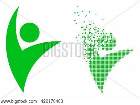 Dispersed Dot Eco Man Vector Icon With Wind Effect, And Original Vector Image. Pixel Dematerializati