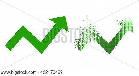 Dispersed Dotted Trend Up Arrow Vector Icon With Destruction Effect, And Original Vector Image. Pixe