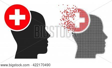 Dispersed Dot Head Treatment Vector Icon With Wind Effect, And Original Vector Image. Pixel Disinteg