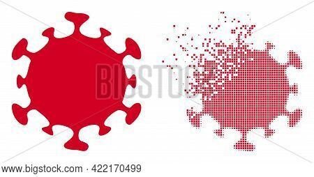 Dispersed Dot Covid Virus Vector Icon With Destruction Effect, And Original Vector Image. Pixel Diss