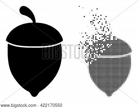 Dispersed Dot Oak Acorn Vector Icon With Wind Effect, And Original Vector Image. Pixel Dust Effect F