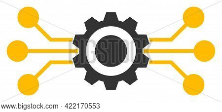 Hitech Gear Vector Icon. A Flat Illustration Design Of Hitech Gear Icon On A White Background.