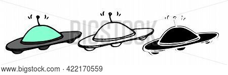Ufo Ship Icon Isolated On White Background. Space Aliens Plate. Vector Illustration.ufo Ship Icon, I