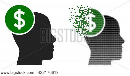 Dispersed Dotted Head Banking Vector Icon With Destruction Effect, And Original Vector Image. Pixel