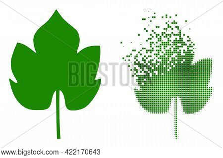 Dispersed Dotted Grapes Leaf Vector Icon With Destruction Effect, And Original Vector Image. Pixel D