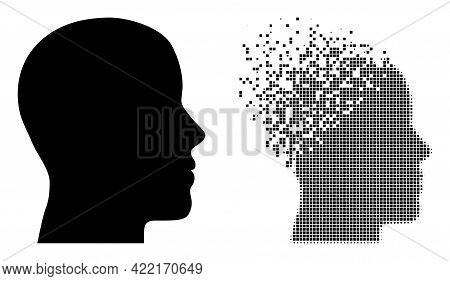 Dissolved Pixelated Man Profile Vector Icon With Destruction Effect, And Original Vector Image. Pixe