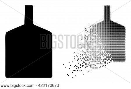 Dissolved Dot Wide Bottle Vector Icon With Destruction Effect, And Original Vector Image. Pixel Dest