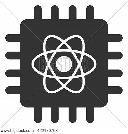 Quantum Computing Vector Icon. A Flat Illustration Design Of Quantum Computing Icon On A White Backg