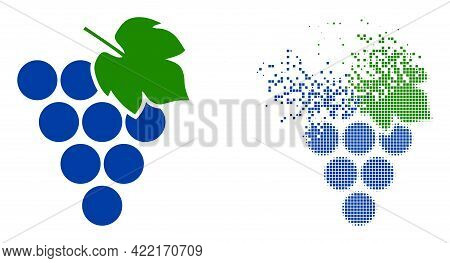 Dispersed Dotted Grape Bunch Vector Icon With Wind Effect, And Original Vector Image. Pixel Dust Eff