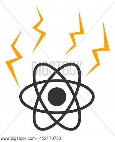 Atomic Emission Vector Illustration. A Flat Illustration Design Of Atomic Emission Icon On A White B